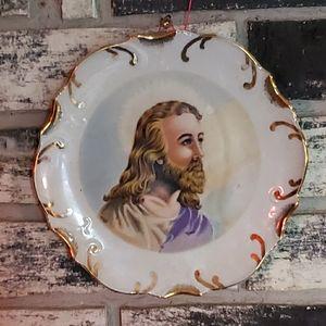 Victorian era Jesus plate  18 karat gold trim.